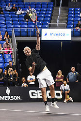 October 4, 2018 - St. Louis, Missouri, U.S - JOHN MCENROE serves the ball during the Invest Series True Champions Classic on Thursday, October 4, 2018, held at The Chaifetz Arena in St. Louis, MO (Photo credit Richard Ulreich / ZUMA Press) (Credit Image: © Richard Ulreich/ZUMA Wire)