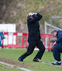 Hamilton manager Billy Reid after Andy Ryan misses an open goal..Hamilton 1 v 2 Falkirk, Scottish Cup quarter-final, Saturday, 2nd March 2013..©Michael Schofield.
