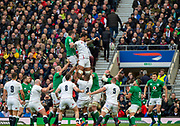 Twickenham, England, 23rd February, Guinness Six Nations, International Rugby,[R] Courtney LAWES, directsthe ball at the line out by Peter O'MALONY,  England vs Ireland, RFU Stadium, United Kingdom, [Mandatory Credit; Peter SPURRIER/Intersport Images]