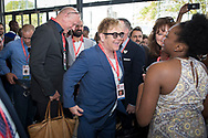 21st International AIDS Conference (AIDS 2016), Durban, South Africa.<br /> Photo shows Sir Elton John at the HIV Protest Wall.<br /> Photo©International AIDS Society/Steve Forrest/Workers' Photos