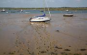 Muddy footprints leading top moored yacht, West Mersea, Mersea Island, Essex, England