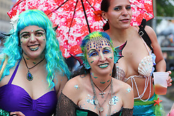 June 16, 2017 - New York City, New York, USA - Parade participants are seen during the 35th annual Mermaid Parade at Coney Island on June 17, 2017 in New York City. (Credit Image: © Anna Sergeeva via ZUMA Wire)