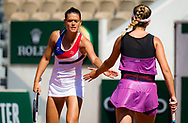 Chloe Paquet and Clara Burel of France in action during the third round of doubles at the Roland-Garros 2021, Grand Slam tennis tournament on June 6, 2021 at Roland-Garros stadium in Paris, France - Photo Rob Prange / Spain ProSportsImages / DPPI / ProSportsImages / DPPI