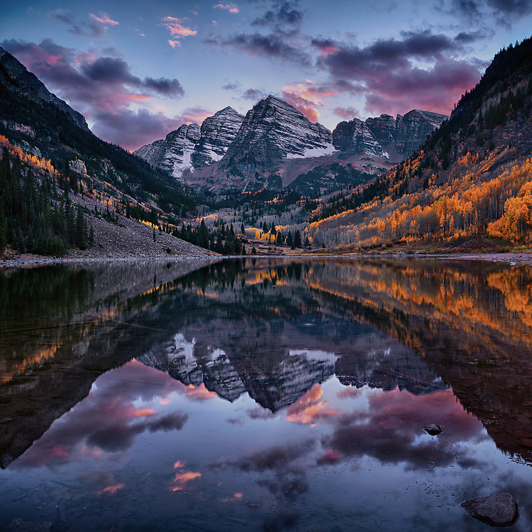The striking symmetry of Maroon Bells is reflected in Maroon Lake on this perfect autumn day. Melodic inversion is a compositional technique where the composer takes the original melody and turns it upside down. Here the composer is nature and the melody played by the Bells is among the most beautiful in the world.