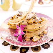 Le Parker Meridien in Palm Springs, with decor by famed designer Joseph Adler, is a hot, trendy boutique hotels, that also serves as a hideaway for celebrities escaping Los Angeles. Pictured is the Caramelized Chocolate Banana Waffle Napoleon from Norma's, the hotel's morning restaurant.  ..
