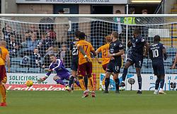 Motherwell's Gael Bigirimana (17) scoring their second goal. Dundee 1 v 3 Motherwell, SPFL Ladbrokes Premiership game played 1/9/2018 at Dundee's Kilmac stadium Dens Park