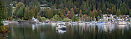 The Marina, beaches, and boats next to Panorama Park at  Deep Cove in British Columbia, North Vancouver, Canada.
