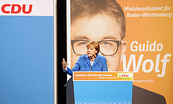 08.03.2016, Stadthalle K3N, Nuertingen, GER, Baden Wuerttemberg, Wahlkampf CDU, im Bild Bundeskanzlerin Angela Merkel (CDU) // during a campaign event for the Baden Wuerttemberg CDU (Christian Democratic Union) parliamentary elections in Stadthalle K3N in Nuertingen, Germany on 2016/03/08. EXPA Pictures © 2016, PhotoCredit: EXPA/ Eibner-Pressefoto/ Fudisch<br /> <br /> *****ATTENTION - OUT of GER*****