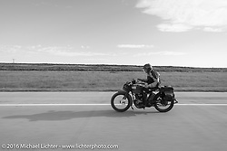 The oldest Motorcycle Cannonball rider on the earliest bike - Victor Boocock riding his 1914 Harley-Davidson during Stage 9 (249 miles) of the Motorcycle Cannonball Cross-Country Endurance Run, which on this day ran from Burlington to Golden, CO., USA. Sunday, September 14, 2014.  Photography ©2014 Michael Lichter.