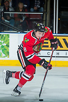 KELOWNA, CANADA - APRIL 8: Cody Glass #8 of the Portland Winterhawks skates with the puck against the Kelowna Rockets on April 8, 2017 at Prospera Place in Kelowna, British Columbia, Canada.  (Photo by Marissa Baecker/Shoot the Breeze)  *** Local Caption ***