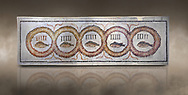Pictures of a geometric Roman doorstep mosaics depicting five fishes surrounded by bars and a medallion, from the ancient Roman city of Thysdrus. 3rd century AD The Small Baths in the M'barek Rhaiem area. El Djem Archaeological Museum, El Djem, Tunisia. Against an art background<br /> <br /> The mosaic depicts the emblem of the Pentasii, a powerful Nortyh African Roman association that organised and  maintained the wild animals and hired animal killers to carry on the games in ampitheatres. .<br /> <br /> If you prefer to buy from our ALAMY PHOTO LIBRARY Collection visit : https://www.alamy.com/portfolio/paul-williams-funkystock/roman-mosaic.html . Type - El Djem - into the LOWER SEARCH WITHIN GALLERY box. Refine search by adding background colour, place, museum etc<br /> <br /> Visit our ROMAN MOSAIC PHOTO COLLECTIONS for more photos to download as wall art prints https://funkystock.photoshelter.com/gallery-collection/Roman-Mosaics-Art-Pictures-Images/C0000LcfNel7FpLI