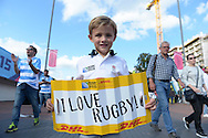 """a Young England fan poses outside Wembley with a banner say """"I love Rugby"""" before k/o. Rugby World Cup 2015 pool C match, New Zealand v Argentina at Wembley Stadium in London on Sunday 20th September 2015.<br /> pic by John Patrick Fletcher, Andrew Orchard sports photography."""