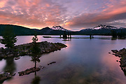 Sunset fades to night at Sparks Lake in the Central Oregon Cascade Range.
