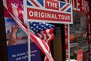On US President Donald Trumps first day of a controversial three-day state visit to the UK by the 45th American President, an American flag is next to a London tour booth on Whitehall, on 3rd June 2019, in London England.