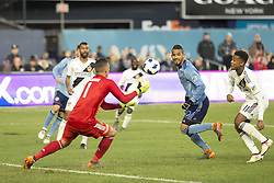 March 11, 2018 - New York, New York, United States - Goalkeeper David Bingham (1) of LA Galaxy saves goal during regular MLS game against NYC FC at Yankee stadium NYC FC won 2 - 1  (Credit Image: © Lev Radin/Pacific Press via ZUMA Wire)
