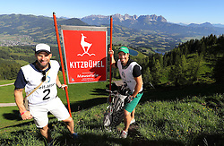 23.06.2016, Hahnenkamm, Kitzbuehel, AUT, Golf, Streif Attack 2016, im Bild Die beiden Hahnenkamm Sieger Marco Buechel und Peter Fill an der Mausefalle // former ski racer and Streif winner Marco Buechel (R), Hahnenkamm winner 2016 Peter Fill (L) during Streif Attack 2016 as a side event of Kitzbuhel Golf week at the Hahnenkamm in Kitzbuehel, Austria on 2016/06/23. EXPA Pictures © 2016, PhotoCredit: EXPA/ SM<br /> <br /> *****ATTENTION - OUT of GER*****