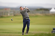 4th October 2017, The Old Course, St Andrews, Scotland; Alfred Dunhill Links Championship, practice round; Former Ireland rugby captain Brian O'Driscoll tees off on the seventeenth hole during a practice round before the Alfred Dunhill Links Championship on the Old Course, St Andrews