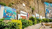 Welcome sign and mural at the Riomaggiore train station, Cinque Terre, Liguria, Italy