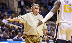 Dec 22, 2018; Morgantown, WV, USA; West Virginia Mountaineers head coach Bob Huggins yells at West Virginia Mountaineers forward Lamont West (15) during the second half against the Jacksonville State Gamecocks at WVU Coliseum. Mandatory Credit: Ben Queen-USA TODAY Sports