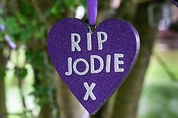 With a fourth person charged for the murder of 17 year-old Jodie Chesney, purple themed tributes, including a garden,  can be seen at St Neot's Open space. Romford, London, May 27 2019.