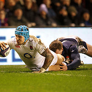Scotland v England. RBS 6 Nations Championship.  England's Jack Nowell (L) goes over for 2nd try as Stuart Hogg (R) tackles.  Feb 6th 2016 in Edinburgh, Scotland.