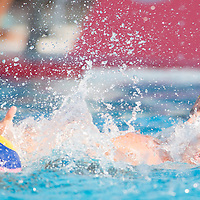 Felipe Perrone (back) of Spain fights against Peter Biros (front) of Hungary during the Vodafone Waterpolo Cup in Budapest, Hungary on July 15, 2012. ATTILA VOLGYI