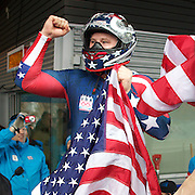 Winter Olympics, Vancouver, 2010.The USA-1 team of Steven Holcomb, pictured, with team mates Justin Olsen, Steve Mesler and Curtis Tomasezicz win the Gold Medal in the Bobsleigh Four-man at The Whistler Sliding Centre, Whistler, during the Vancouver Winter Olympics. 27th February 2010. Photo Tim Clayton