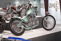 Prism Supplies' Zach and Jake Hindes 1948 Harley-Davidson rigid Panhead Chopper in the Old Iron - Young Blood exhibition in the Motorcycles as Art gallery at the Buffalo Chip during the annual Sturgis Black Hills Motorcycle Rally. Sturgis, SD, USA. Wednesday August 9, 2017. Photography ©2017 Michael Lichter.