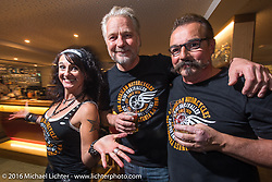 Simone Messer, Andreas Scholz and Axel Scherer Portrait at the Custom Chrome Europe evening party in the old town after a long day at the Intermot Motorcycle Trade Fair. Cologne, Germany. Friday October 7, 2016. Photography ©2016 Michael Lichter.