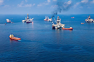 6-10-2010, A hub of vessels dealling with the BP oil spill at the site spill.