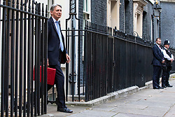 © Licensed to London News Pictures. 29/10/2018. London, UK. The Chancellor of The Exchequer Philip Hammond leaves 11 Downing Street with the red dispatch box as he heads to Parliament to deliver the budget. Photo credit: Rob Pinney/LNP