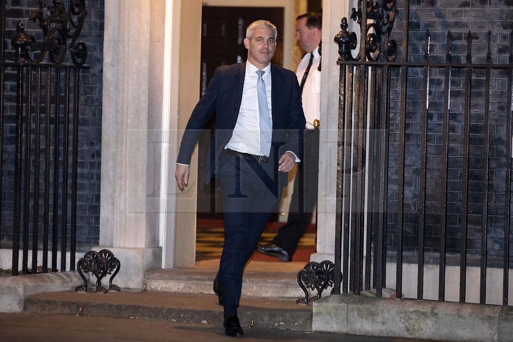© Licensed to London News Pictures. 07/01/2019. London, UK. Brexit Secretary Stephen Barclay leaving 10 Downing Street after attending a drinks reception in Number 10. British Prime Minister Theresa May is currently trying to persuade MPs to back her Brexit withdrawal deal. MPs will be debating the issue this week, with the postponed vote taking place on Tuesday 15th January. Photo credit : Tom Nicholson/LNP