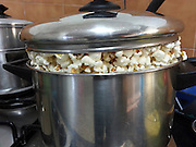 A pot of pop corn on a gas stove