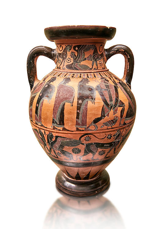 560-550 B.C Etruscan attica style amfora painted in the style of Lydos, inv 70995,   National Archaeological Museum Florence, Italy , white background .<br /> <br /> If you prefer to buy from our ALAMY PHOTO LIBRARY  Collection visit : https://www.alamy.com/portfolio/paul-williams-funkystock - Scroll down and type - Etruscan Florence - into LOWER search box. (TIP - Refine search by adding a background colour as well).<br /> <br /> Visit our ETRUSCAN PHOTO COLLECTIONS for more photos to download or buy as wall art prints https://funkystock.photoshelter.com/gallery-collection/Pictures-Images-of-Etruscan-Historic-Sites-Art-Artefacts-Antiquities/C0000GgxRXWVMLyc