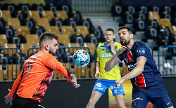 Miljan Vujovic of Celje vs Ferran Sole Sala of Paris during handball match between RK Celje Pivovarna Lasko (SLO) and Paris Saint-Germain Handball (FRA) in Round of 16 of EHF Champions League 2020/21, on April 1, 2021 in Arena Zlatorog, Celje, Slovenia. Photo by Vid Ponikvar / Sportida