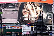 A government NHS National Heath Service advert displays the face of a Covid patient, urging Londoners to stay at home and not to take risks or bend the rules during the third lockdown of the Coronavirus pandemic, at Piccadilly Circus in the capitals West End, on 3rd February 2021, in London, England.