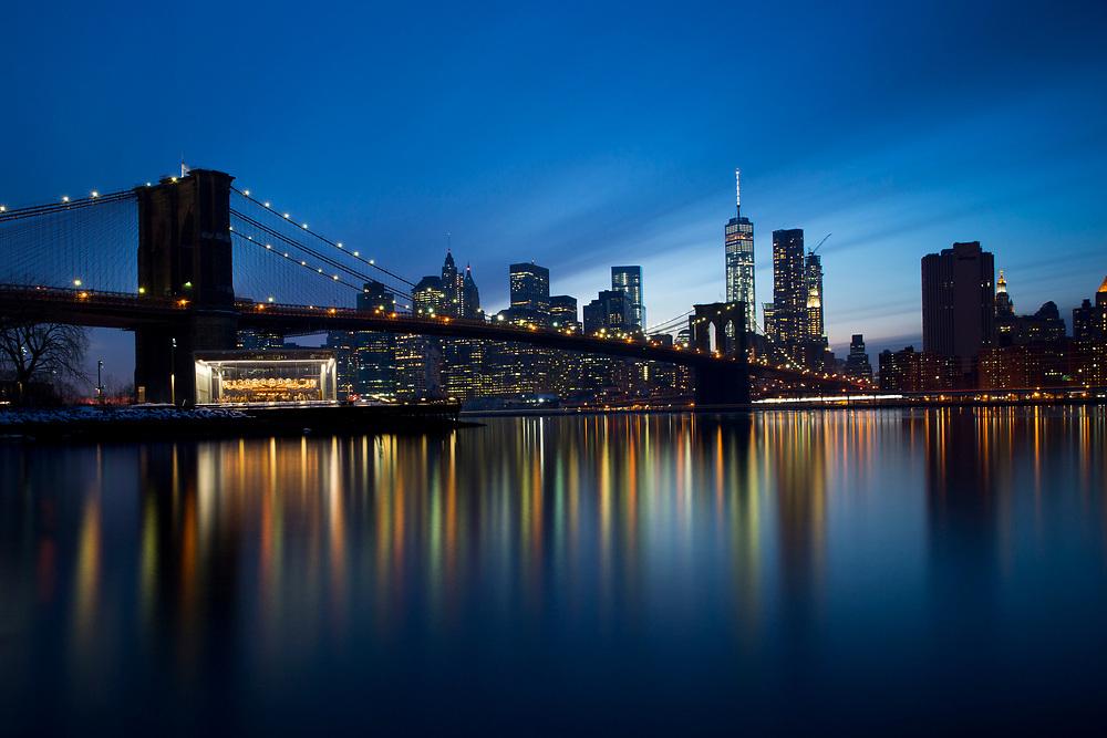 View on Brooklyn Bridge from Brooklyn Bridge Park during Sunset