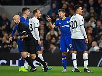 Football - 2019 / 2020 Premier League - Tottenham Hotspur vs. Chelsea<br /> <br /> Chelsea's Cesar Azpilicueta tells Referee Anthony Taylor that Antonio Rudiger has heard racist abuse, at The Tottenham Hotspur Stadium.<br /> <br /> COLORSPORT/ASHLEY WESTERN