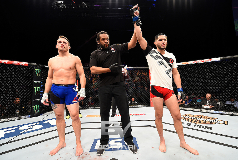 LAS VEGAS, NV - DECEMBER 03:  Jorge Masvidal celebrates after his TKO victory over Jake Ellenberger in their welterweight bout during The Ultimate Fighter Finale event inside the Pearl concert theater at the Palms Resort & Casino on December 3, 2016 in Las Vegas, Nevada. (Photo by Jeff Bottari/Zuffa LLC/Zuffa LLC via Getty Images)