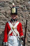 Traditional dressed guard in Old Fort Erie on the Niagara river, Ontario, Canada