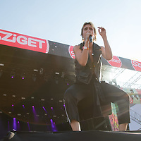 Danish singer Karen Marie Aagaard Orsted Andersen known professionally as MO performs on the Main Stage at Sziget Festival held in Budapest, Hungary on Aug. 13, 2018. ATTILA VOLGYI