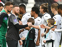 Football - 2019 / 2020 Sky Bet (EFL) Championship - Swansea City vs. Derby County<br /> <br /> Wayne Rooney of Derby County shakes hands with the opposition before the game , at The Liberty Stadium.<br /> <br /> COLORSPORT/WINSTON BYNORTH