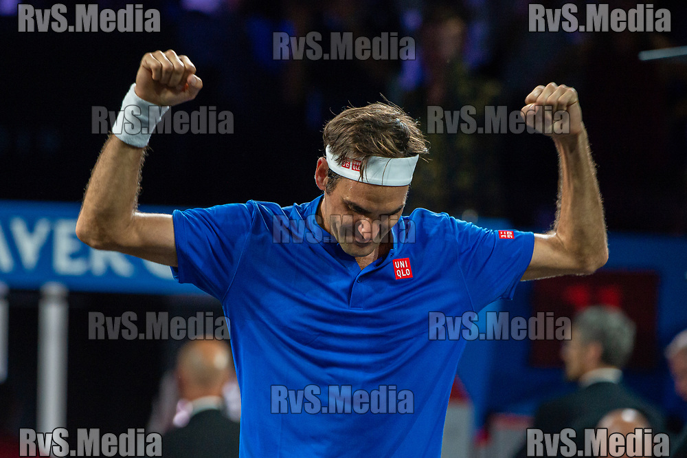 GENEVA, SWITZERLAND - SEPTEMBER 22: Roger Federer of Team Europe celebrates the win during Day 3 of the Laver Cup 2019 at Palexpo on September 20, 2019 in Geneva, Switzerland. The Laver Cup will see six players from the rest of the World competing against their counterparts from Europe. Team World is captained by John McEnroe and Team Europe is captained by Bjorn Borg. The tournament runs from September 20-22. (Photo by Robert Hradil/RvS.Media)