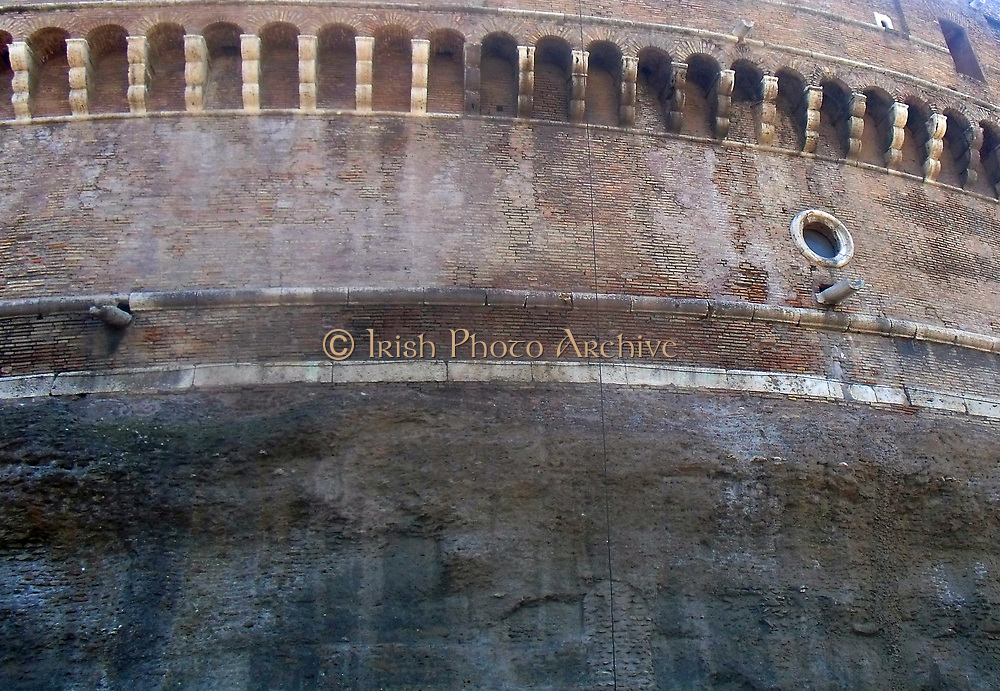 Art detail from the Castel Sant'Angelo, a tall cylindrical building in Parco Adriano, Rome, Italy. It which was initially commissioned as a mausoleum by Roman Emperor Hadrian. The Castel was once the tallest building in Rome, and is now is used as a museum. Circa 2nd century AD.