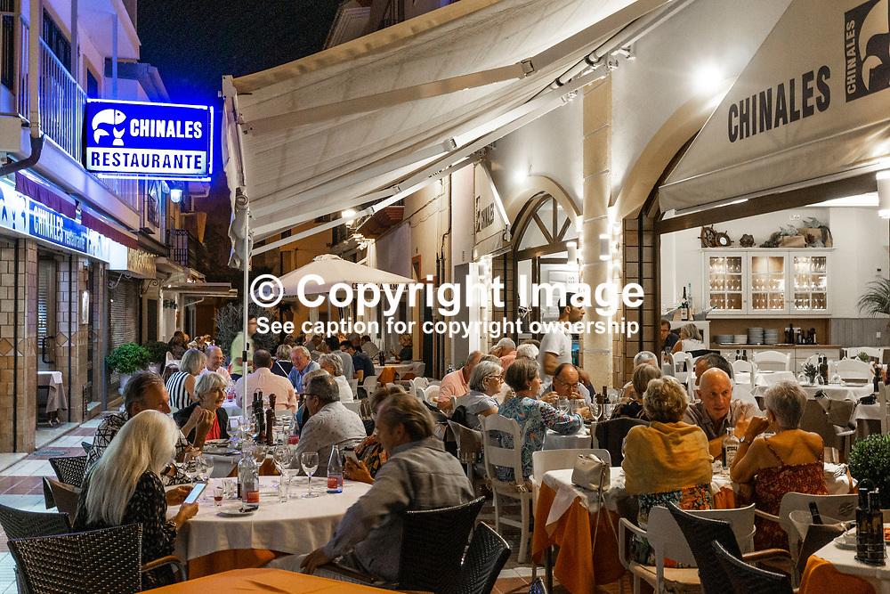 Chinales Restaurante, San Pedro de Alcantara, Marbella, Malaga Province, Spain, October, 2019, 201910071722<br /> <br /> Copyright Image from Victor Patterson, Belfast, UK<br /> <br /> t: +44 28 9066 1296 (from Rep of Ireland 048 9066 1296)<br /> m: +44 7802 353836<br /> e: victorpattersonbelfast@gmail.com<br /> <br /> www.images4media.com<br /> <br /> Please see my full Terms and Conditions of Use at https://www.images4media.com/p/terms-conditions - it is IMPORTANT that you familiarise yourself with them.<br /> <br /> Images used online incur an additional cost. This cost should be agreed in writing in advance. Online images must be visibly watermarked i.e. © Victor Patterson or that of the named photographer within the body of the image. The original metadata must not be deleted from images used online.<br /> <br /> This image is only available for the use of the download recipient i.e. television station, newspaper, magazine, book publisher, etc, and must not be passed on to a third party. It is also downloaded on condition that each and every usage is notified within 7 days to victorpattersonbelfast@gmail.com.<br /> <br /> The right of Victor Patterson (or the named photographer) to be identified as the author is asserted in accordance with The Copyright Designs And Patents Act (1988). All moral rights are asserted.