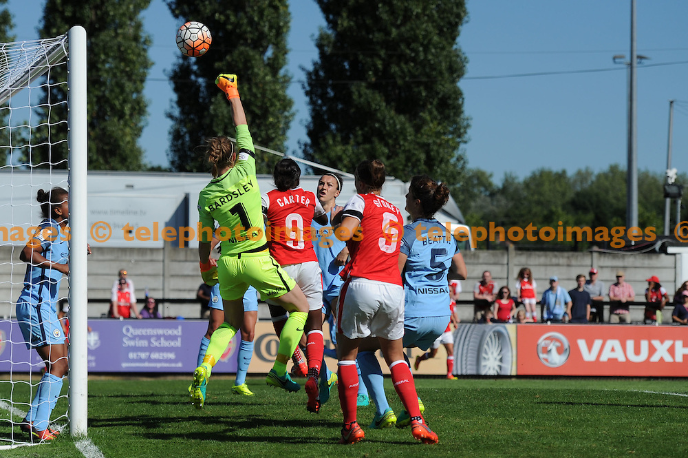 Manchester Citys Karen Bardsley in action during the The FA Women's Super League 1 match between Arsenal Ladies and Manchester City Women at Boreham Wood FC. September 11, 2016.<br />Holly  Allison / Telephoto Images<br />+44 7967 642437