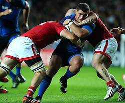 Evan Olmstead of Canada and Ray Barkwill of Canada tackle Benjamin Kayser of France  - Mandatory byline: Joe Meredith/JMP - 07966386802 - 01/10/2015 - Rugby Union, World Cup - Stadium:MK -Milton Keynes,England - France v Canada - Rugby World Cup 2015
