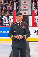 REGINA, SK - MAY 27:Brigadier-General Trevor Cadieu of the Canadian Armed Forces walks to centre ice for the ceremonial puck drop at the Brandt Centre on May 27, 2018 in Regina, Canada. (Photo by Marissa Baecker/CHL Images)