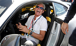 Phillip Schofield in the safety car before the 2018 British Grand Prix at Silverstone Circuit, Towcester.