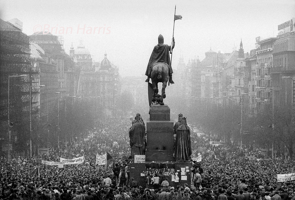 Czechoslovakia, Prague,1989 during the Velvet Revolution, the fall of communism in Eastern Europe. Celebrating the fall of the communist government by in Wenceslas Square .<br /> COPYRIGHT PHOTOGRAPH BY BRIAN HARRIS ©<br /> 07808-579804